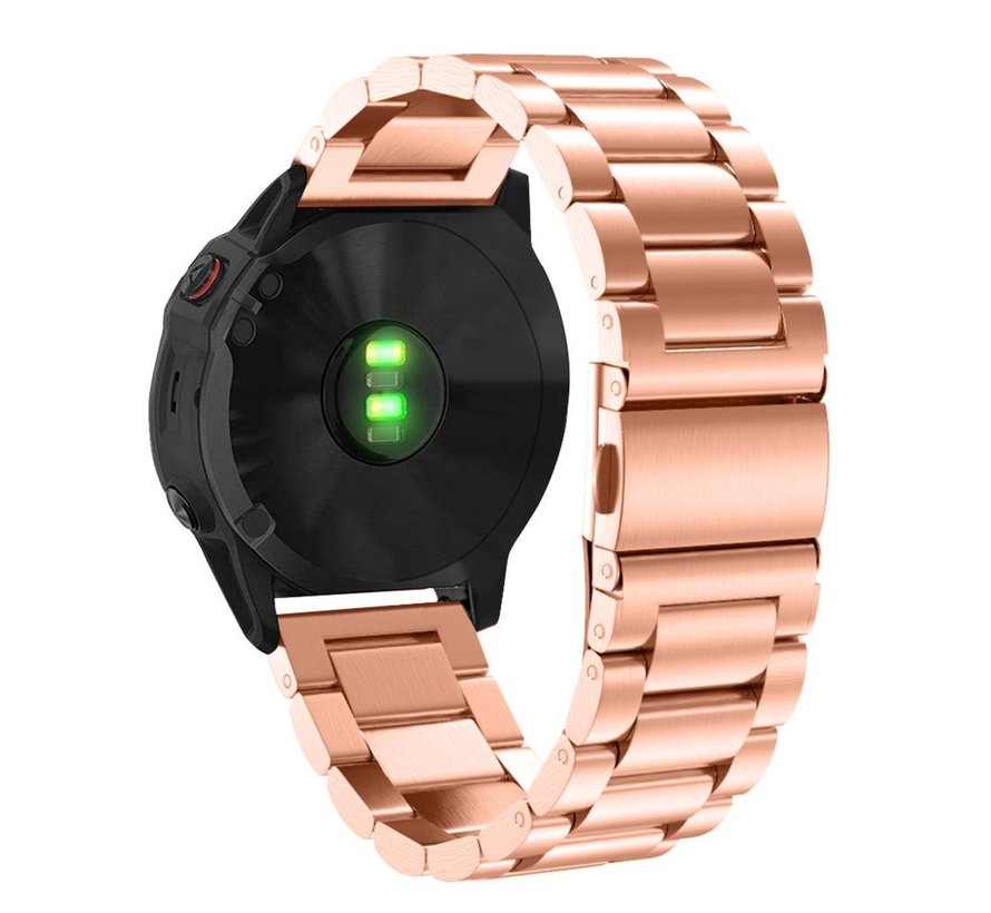 Strap-it® Garmin Fenix 5x / 6x stalen band (rosé goud)