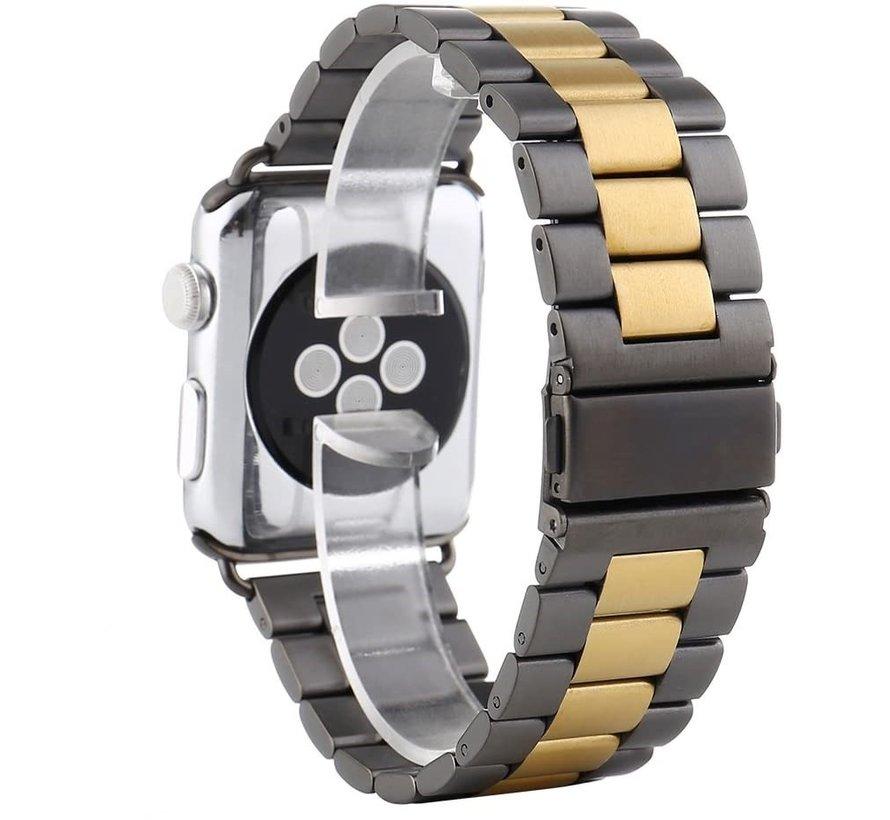 Strap-it® Apple Watch stalen band (zwart/goud)