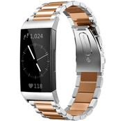 Strap-it® Fitbit Charge 4 stalen band (zilver/rosé goud)