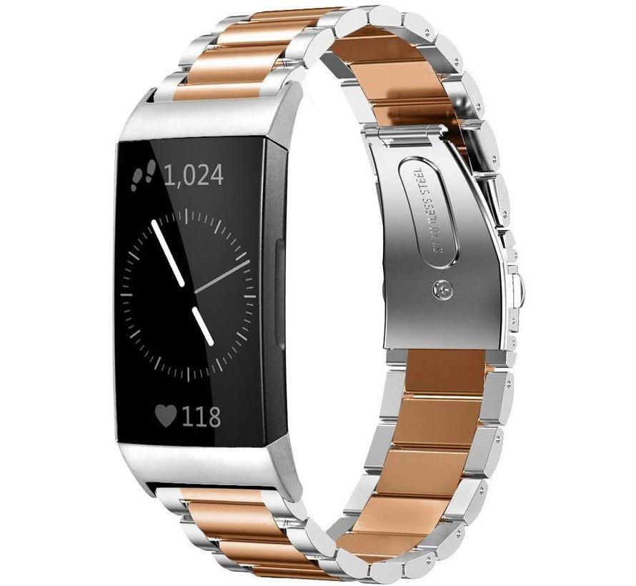 Strap-it® Fitbit Charge 4 stalen band (zilver/rosé goud)