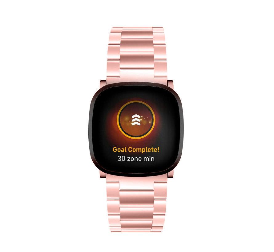 Strap-it® Fitbit Versa 3 stalen band (rosé pink)
