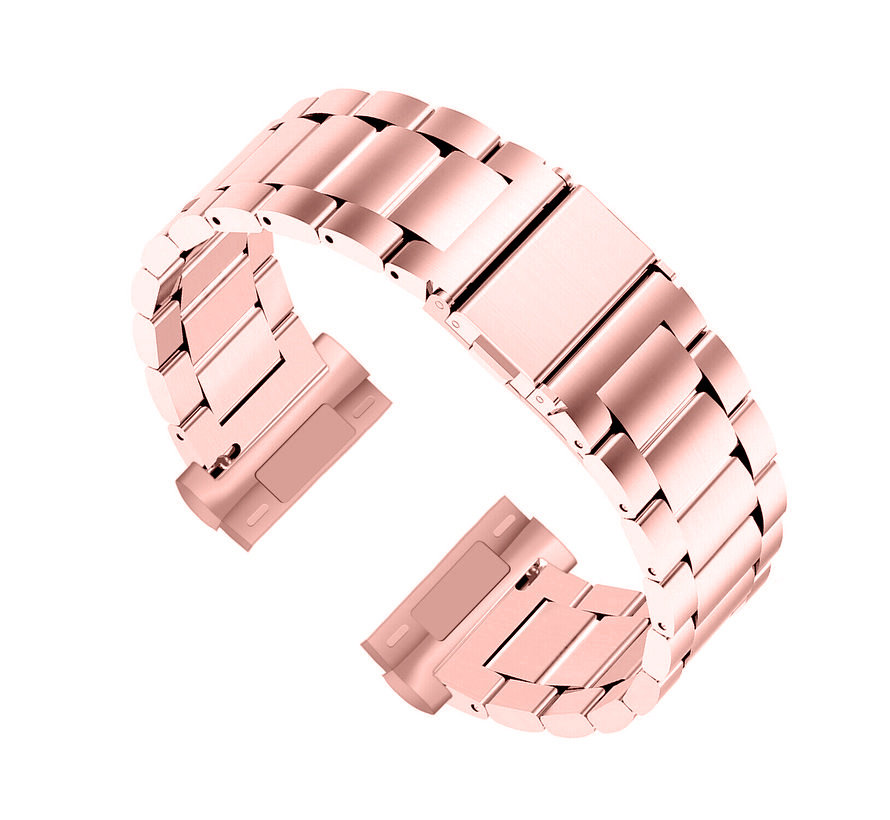 Strap-it® Fitbit Sense stalen band (rosé pink)