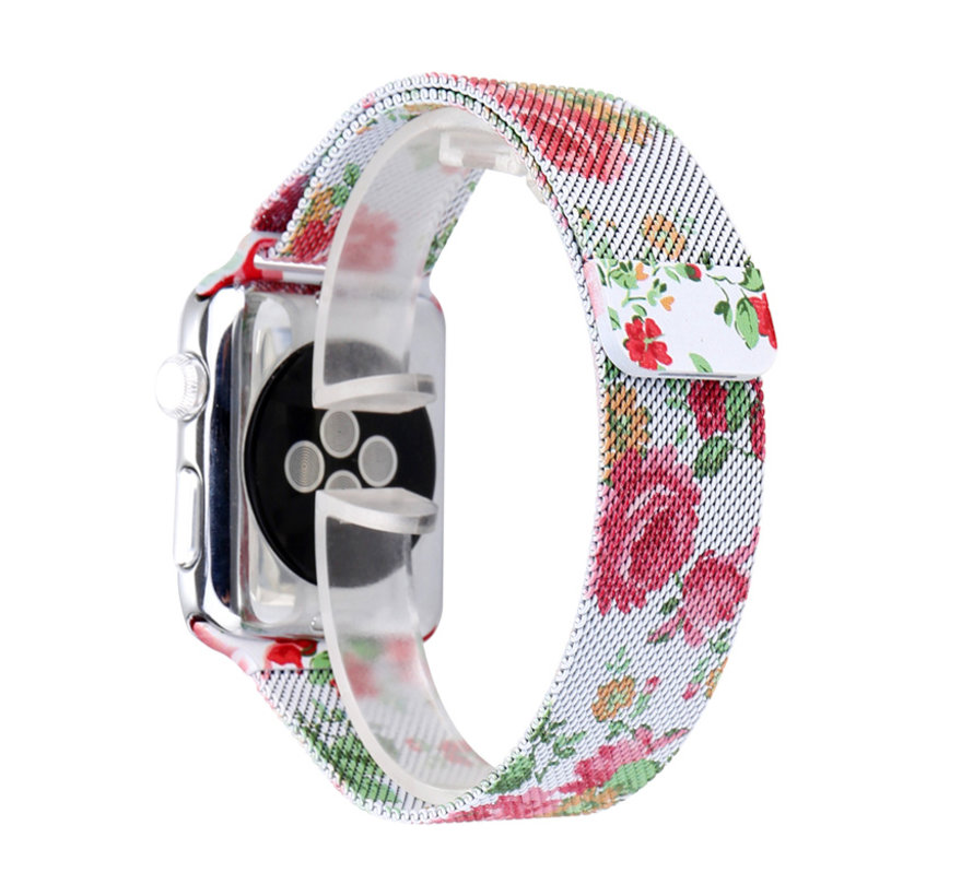 Strap-it® Apple Watch Milanese  band (witte roos print)