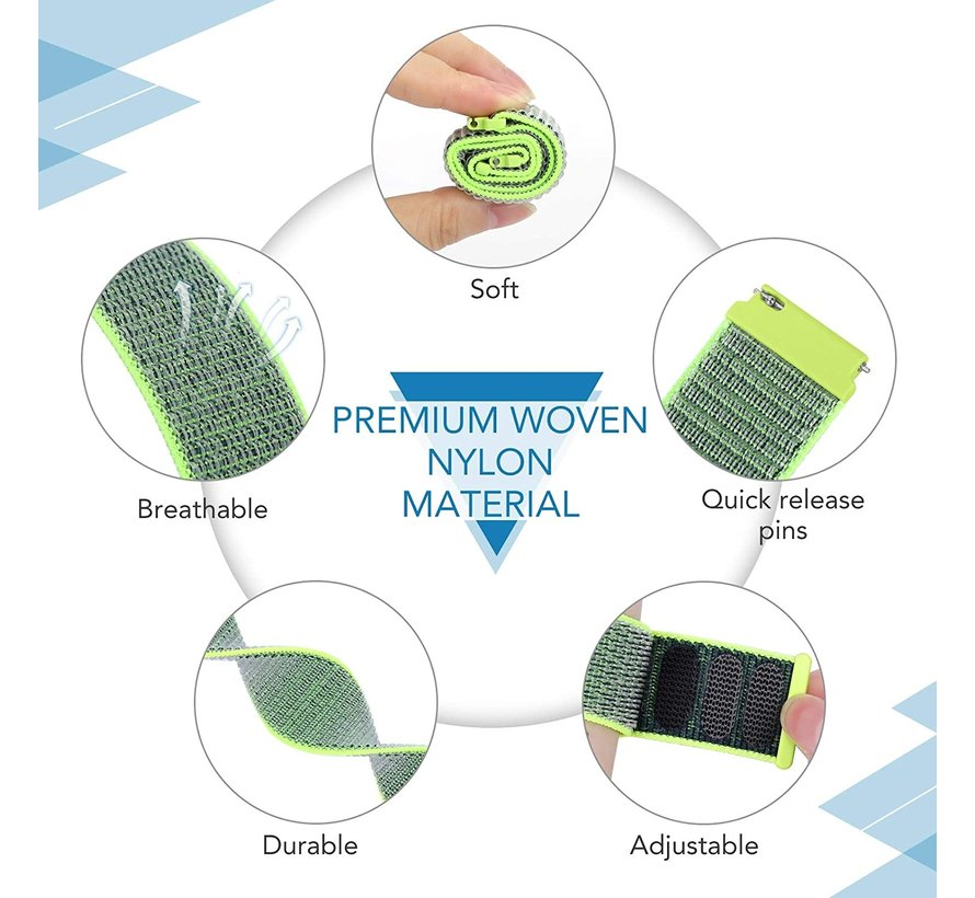 Strap-it® Garmin Vivomove HR nylon bandje (fluoriserend)