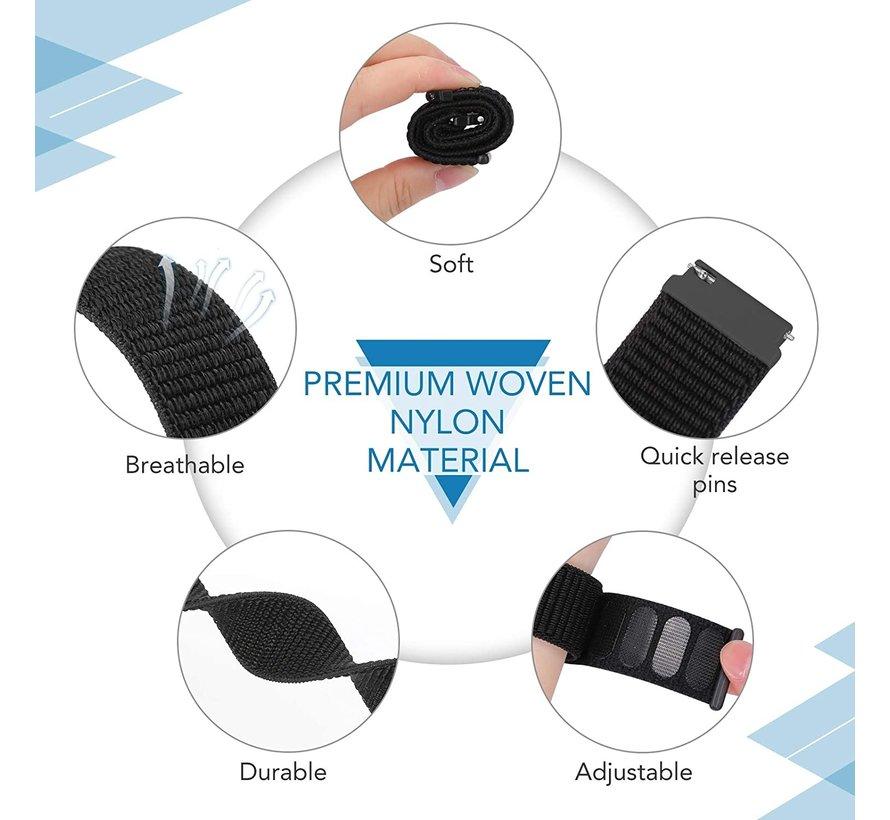 Strap-it® Samsung Galaxy Watch 45mm / 46mm nylon band (zwart)