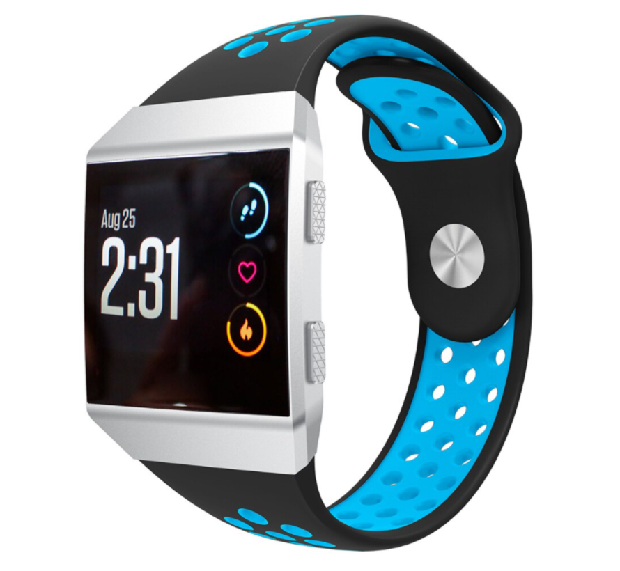 Strap-it® Fitbit Ionic sport band (zwart/blauw)