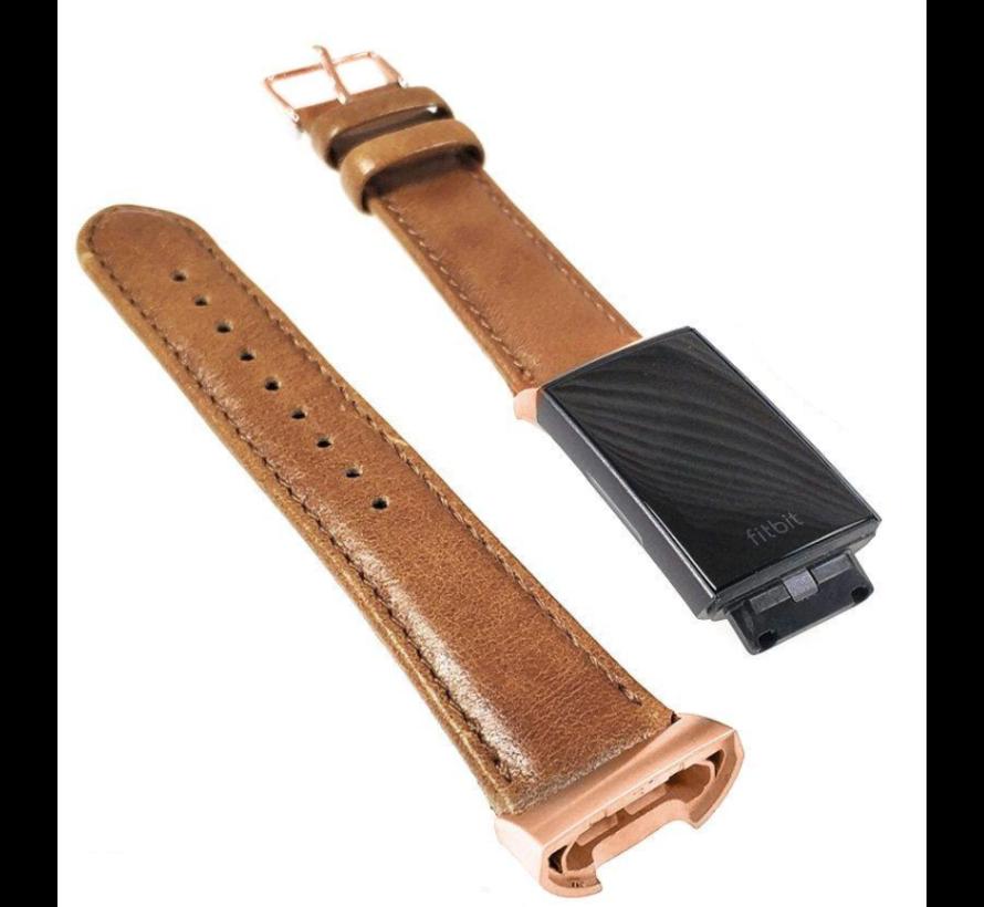 Strap-it® Fitbit Charge 3 leren bandje met rosé gesp (bruin)