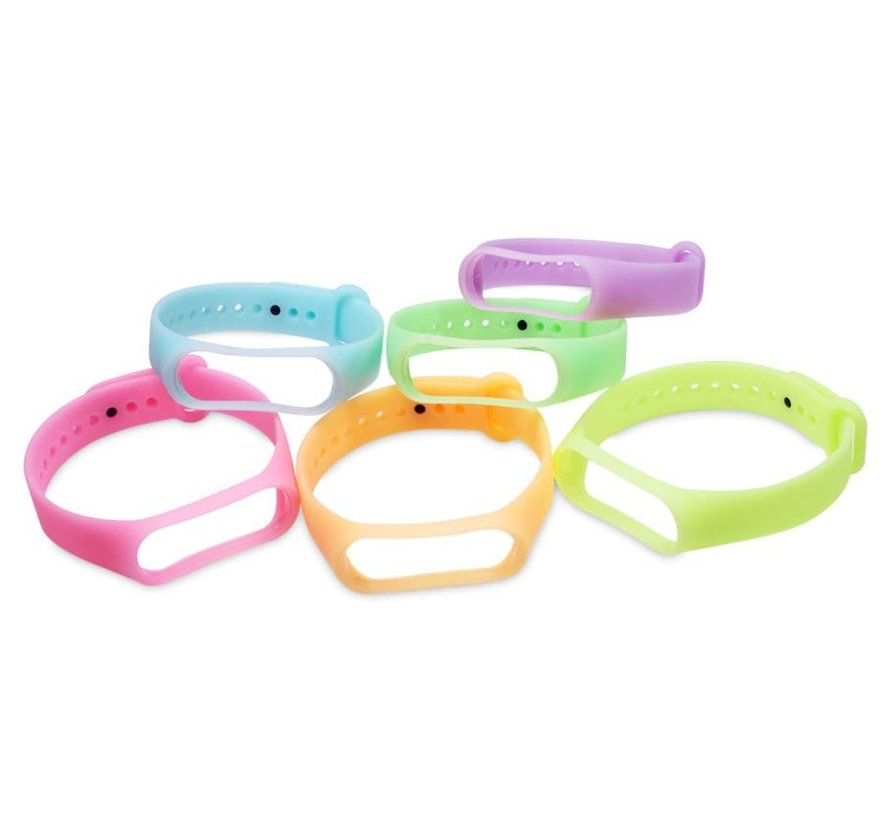Strap-it® Xiaomi Mi band 5 siliconen bandje (lichtgevend roze)