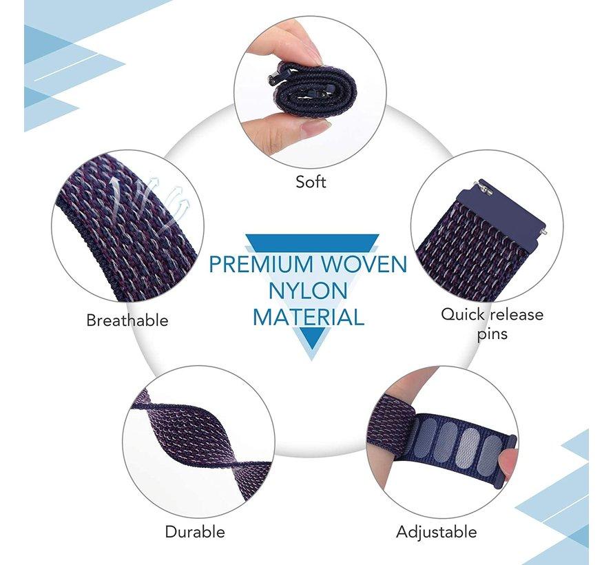 Strap-it® Samsung Galaxy Watch 3 -  45mm nylon band (paars-blauw)