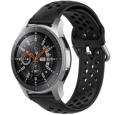 Strap-it® Strap-it® Samsung Galaxy Watch 45mm / 46mm siliconen bandje met gaatjes (zwart)