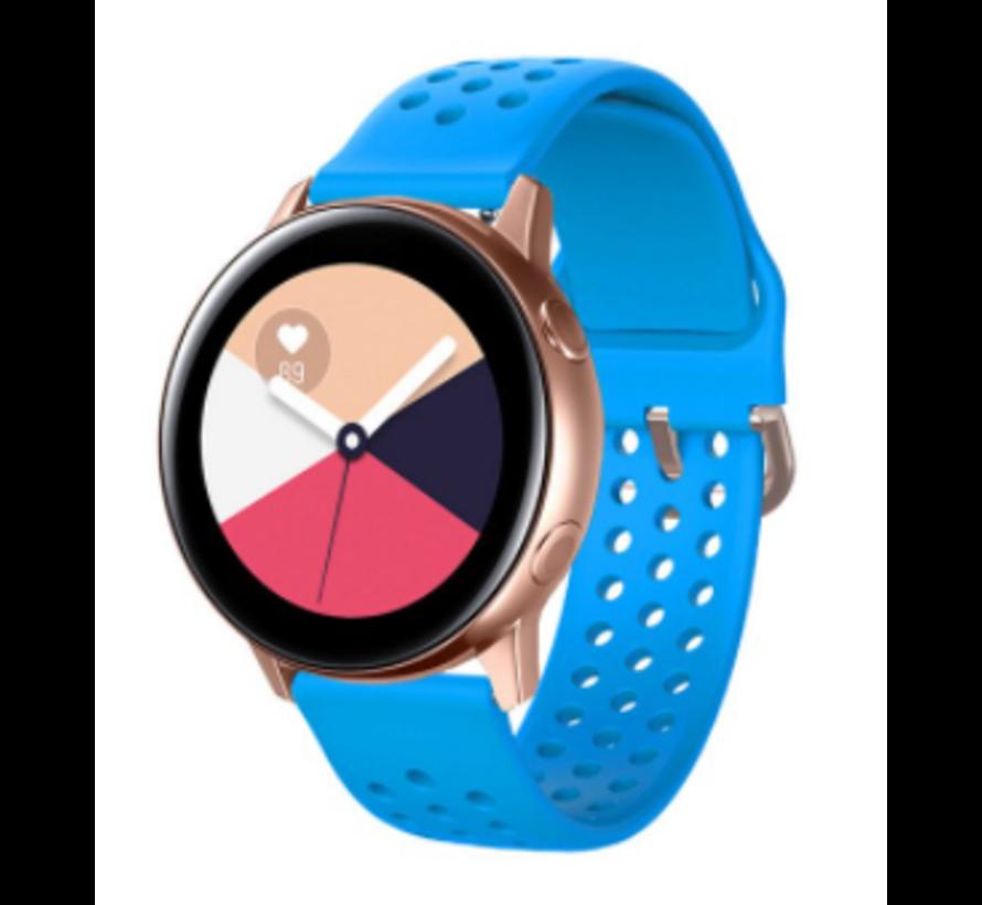 Strap-it® Samsung Galaxy Watch 41mm / 42mm siliconen bandje met gaatjes (lichtblauw)