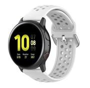 Strap-it® Samsung Galaxy Watch 41mm / 42mm siliconen bandje met gaatjes (wit)