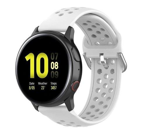 Strap-it® Strap-it® Samsung Galaxy Watch 41mm / 42mm siliconen bandje met gaatjes (wit)