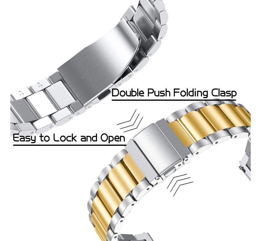 Strap-it® Samsung Galaxy Watch 3 stalen band 45mm (zilver/goud)