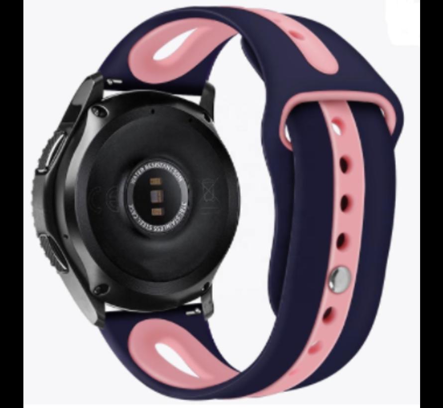 Strap-it® Samsung Galaxy Watch 3 duo sport band 45mm (donkerblauw/roze)
