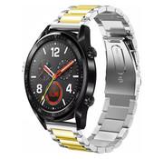 Strap-it® Huawei Watch GT stalen band (zilver/goud)