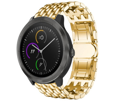 Strap-it® Strap-it® Garmin Vivoactive 4 stalen draak band - 45mm - goud