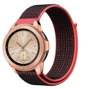 Strap-it® Samsung Galaxy Watch 41mm / 42mm nylon band (zwart/rood)
