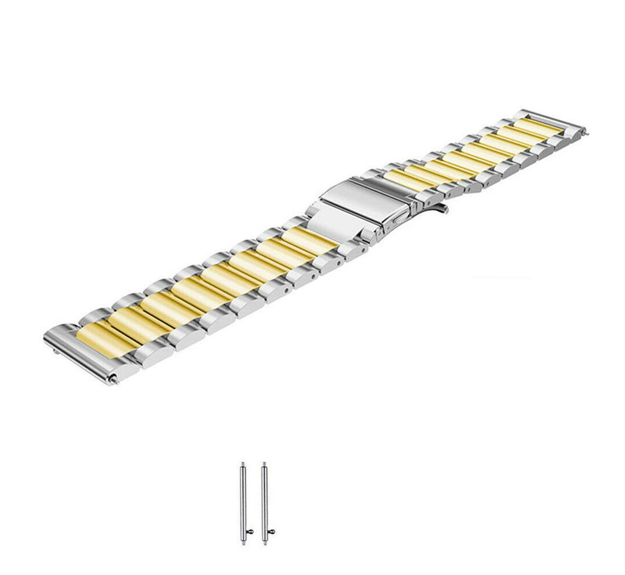 Strap-it® Garmin Venu stalen band (zilver/goud)