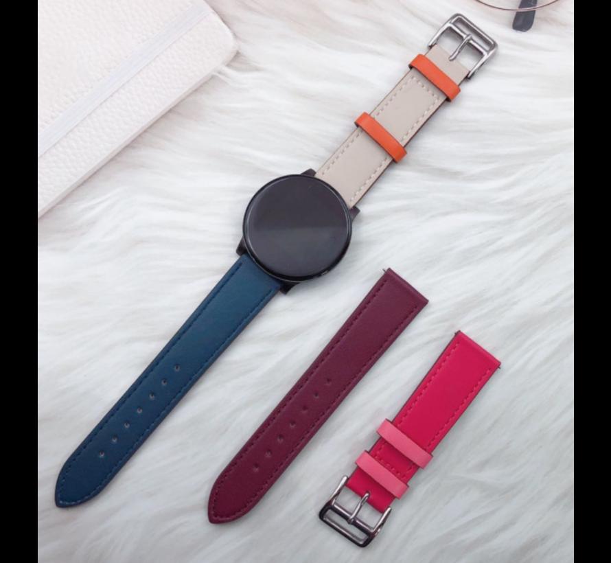 Strap-it® Garmin Venu leren bandje (wit/donkerblauw)