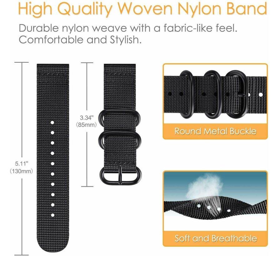Strap-it® Garmin Vivoactive 4 nylon gesp band - 45mm - zwart