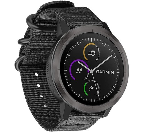 Strap-it® Strap-it® Garmin Vivoactive 4 nylon gesp band - 45mm - zwart