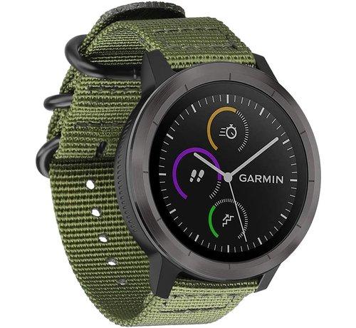 Strap-it® Strap-it® Garmin Vivoactive 4 nylon gesp band - 45mm - groen