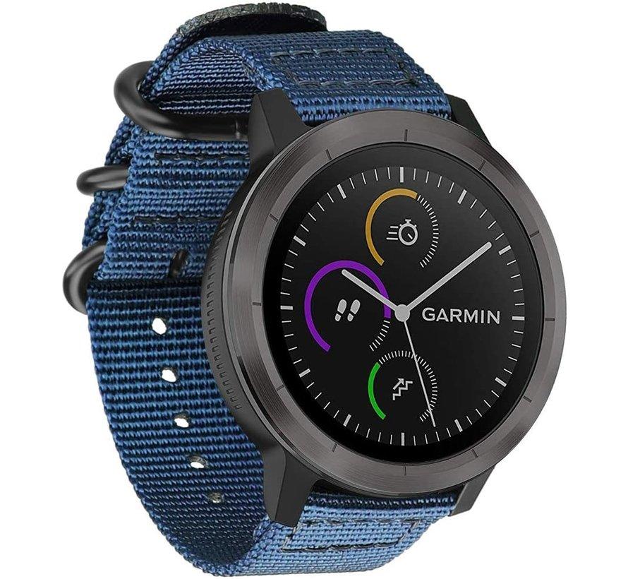 Strap-it® Garmin Vivoactive 4 nylon gesp band - 45mm - blauw