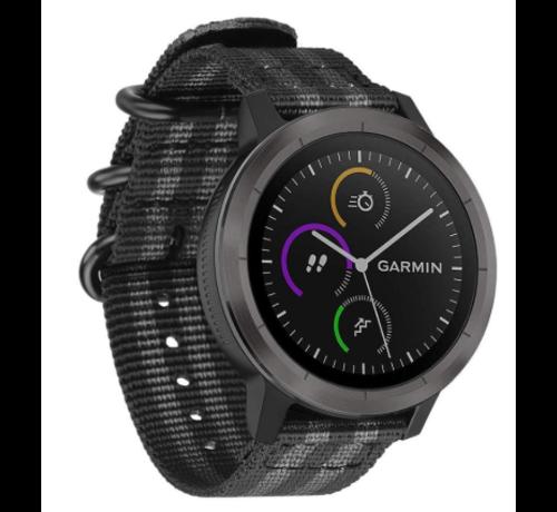 Strap-it® Strap-it® Garmin Vivoactive 4 nylon gesp band - 45mm - zwart/grijs
