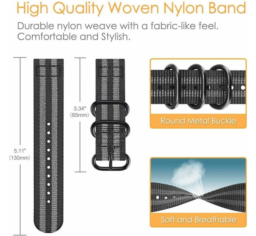 Strap-it® Garmin Vivoactive 4 nylon gesp band - 45mm - zwart/grijs