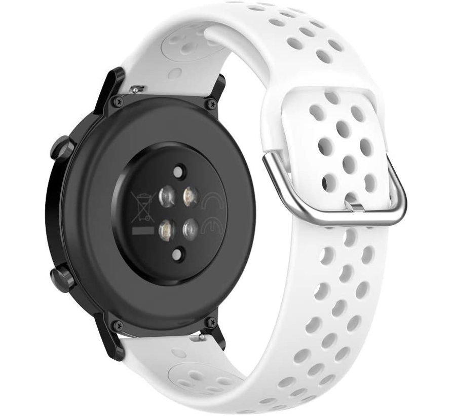 Strap-it® Garmin Vivoactive 4 siliconen bandje met gaatjes - 45mm - wit