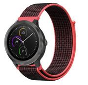 Strap-it® Garmin Venu nylon band (zwart/rood)