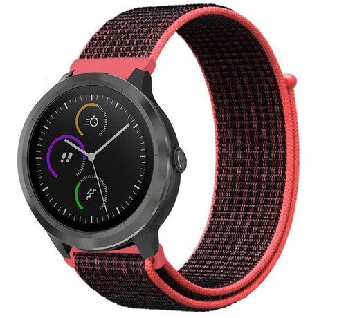 Strap-it® Strap-it® Garmin Vivoactive 4 nylon band - 45mm - zwart/rood