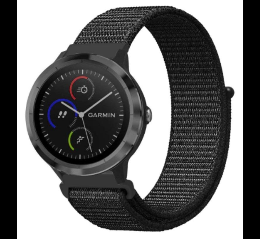 Strap-it® Garmin Vivoactive 4 nylon band - 45mm - zwart