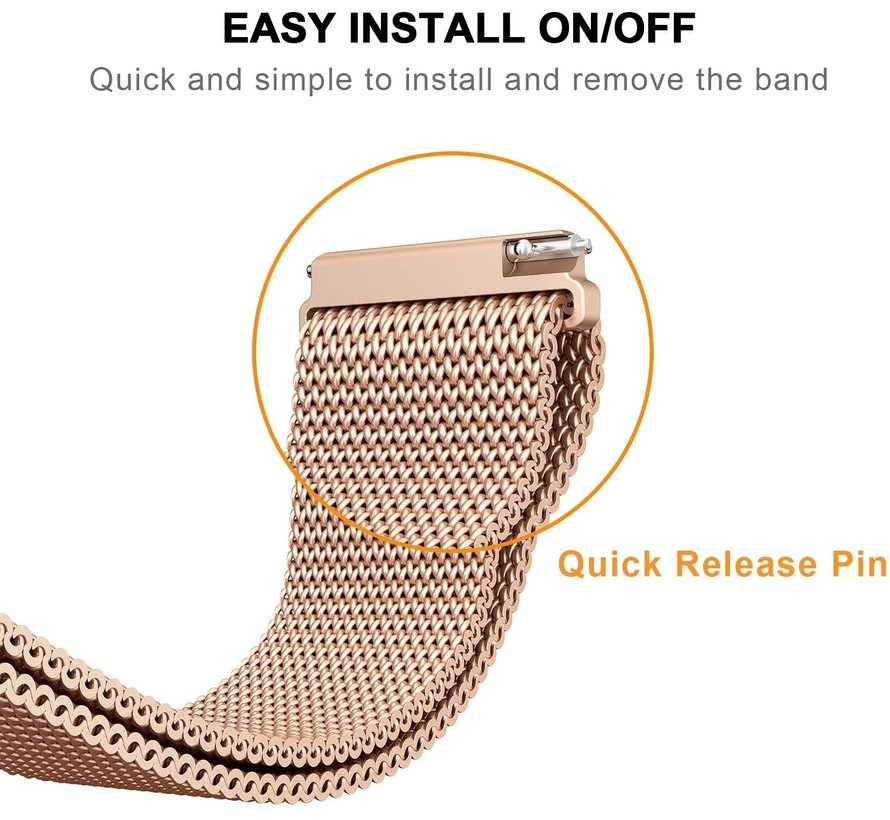 Strap-it® Garmin Venu Milanese band (rosé goud)