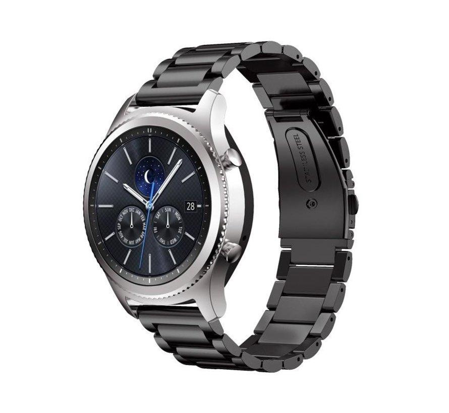 Strap-it® Samsung Gear S3 stalen band (zwart)
