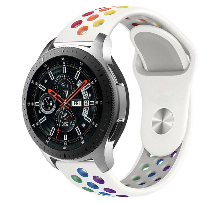 Strap-it® Samsung Galaxy Watch sport band 45mm / 46mm (wit kleurrijk)