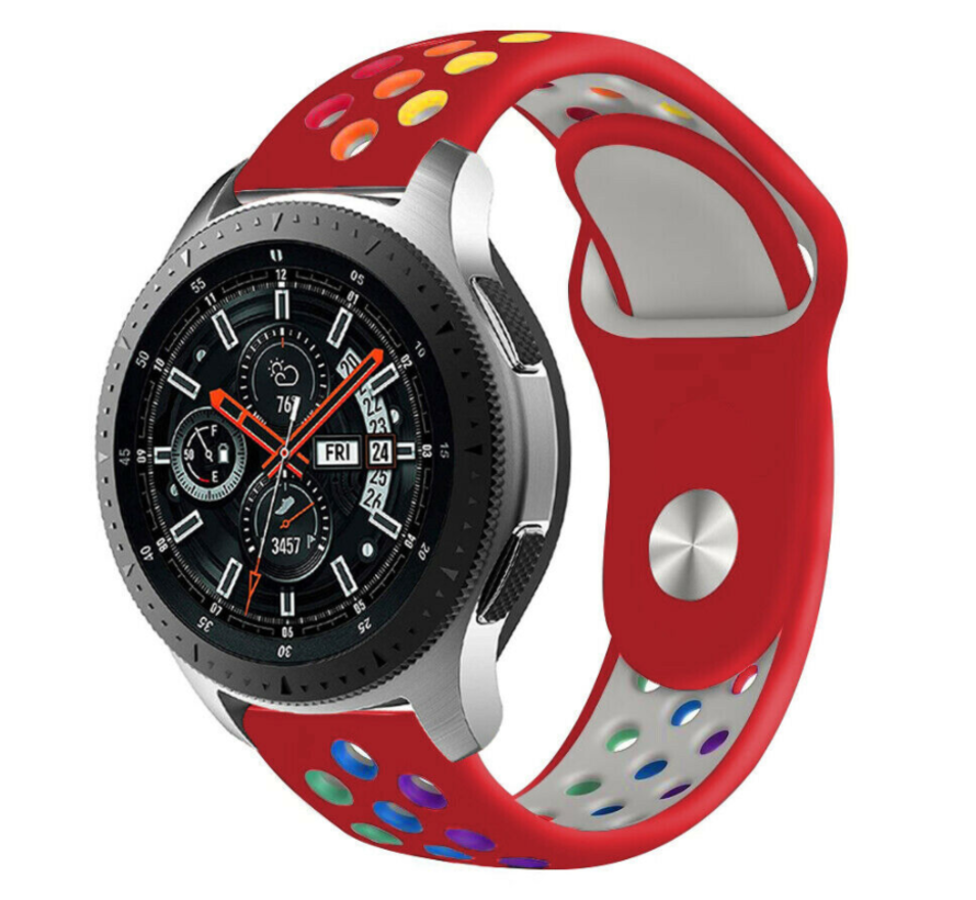 Strap-it® Samsung Galaxy Watch sport band 45mm / 46mm (rood kleurrijk)