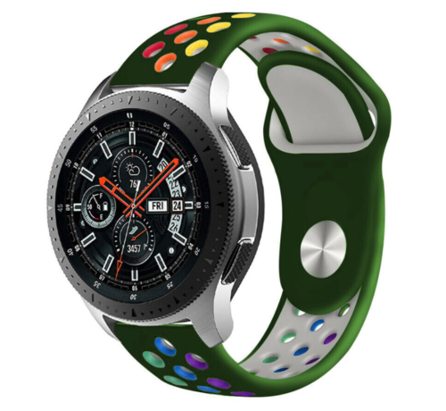 Strap-it® Strap-it® Samsung Galaxy Watch sport band 45mm / 46mm (legergroen kleurrijk)
