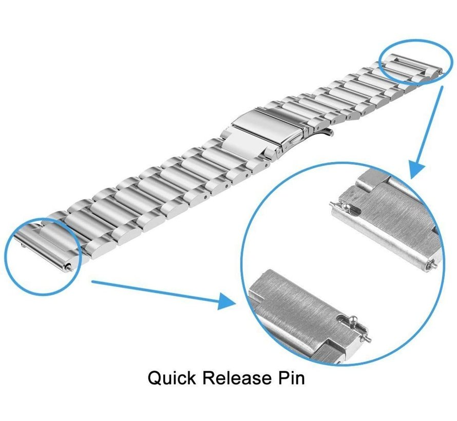 Strap-it® Xiaomi Amazfit GTS stalen band (zilver)