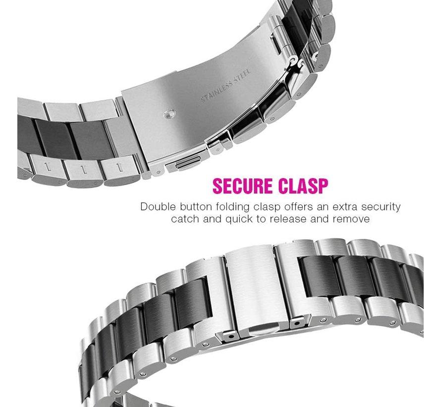 Strap-it® Xiaomi Amazfit GTS stalen band (zilver/zwart)