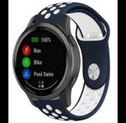 Strap-it® Garmin Vivoactive 4 sport band - 45mm - blauw/wit