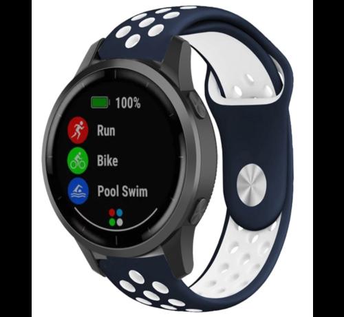 Strap-it® Strap-it® Garmin Vivoactive 4 sport band - 45mm - blauw/wit