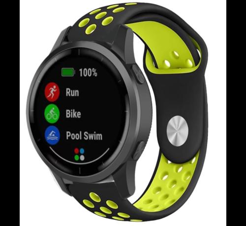 Strap-it® Strap-it® Garmin Vivoactive 4 sport band - 45mm - zwart/geel