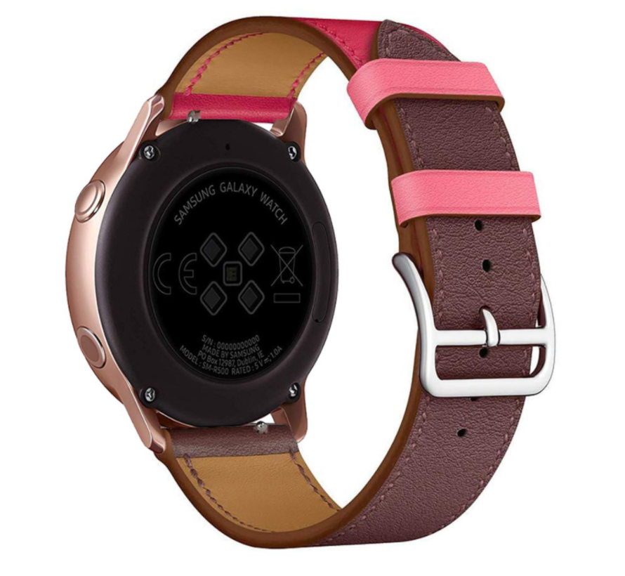 Strap-it® Samsung Galaxy Watch 3 leren bandje 45mm (knalroze/roodbruin)