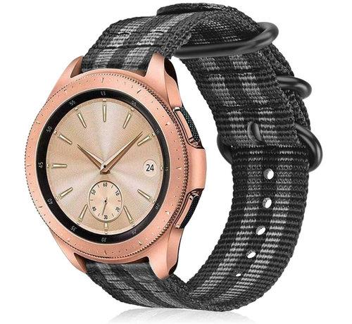 Strap-it® Strap-it® Samsung Galaxy Watch 41mm / 42mm nylon gesp band (zwart/grijs)