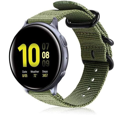 Strap-it® Strap-it® Samsung Galaxy Watch Active nylon gesp band (groen)