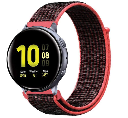 Strap-it® Strap-it® Samsung Galaxy Watch Active nylon band (zwart/rood)