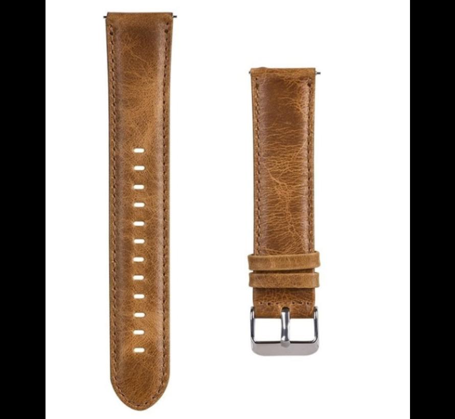 Strap-it® Garmin Vivomove HR leren bandje (bruin)