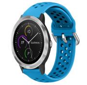 Strap-it® Garmin Vivoactive 3 siliconen bandje met gaatjes (lichtblauw)